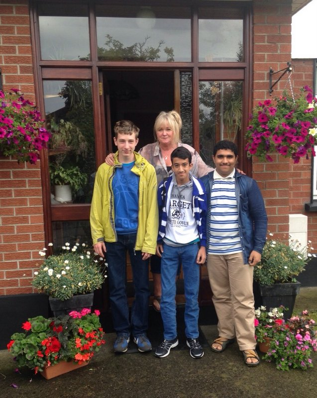 An Irish host Mom with her international guests taking part in the school's junior programme