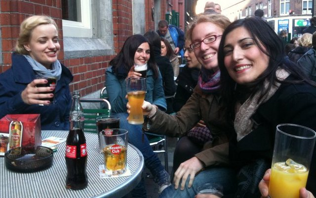 Students enjoying evening in a pub off Grafton Street in Dublin